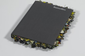 Gianluca Quaglia, Farfalle (butterflies), 2016, intagli su manuale entomologico, 38x23.5x3 cm