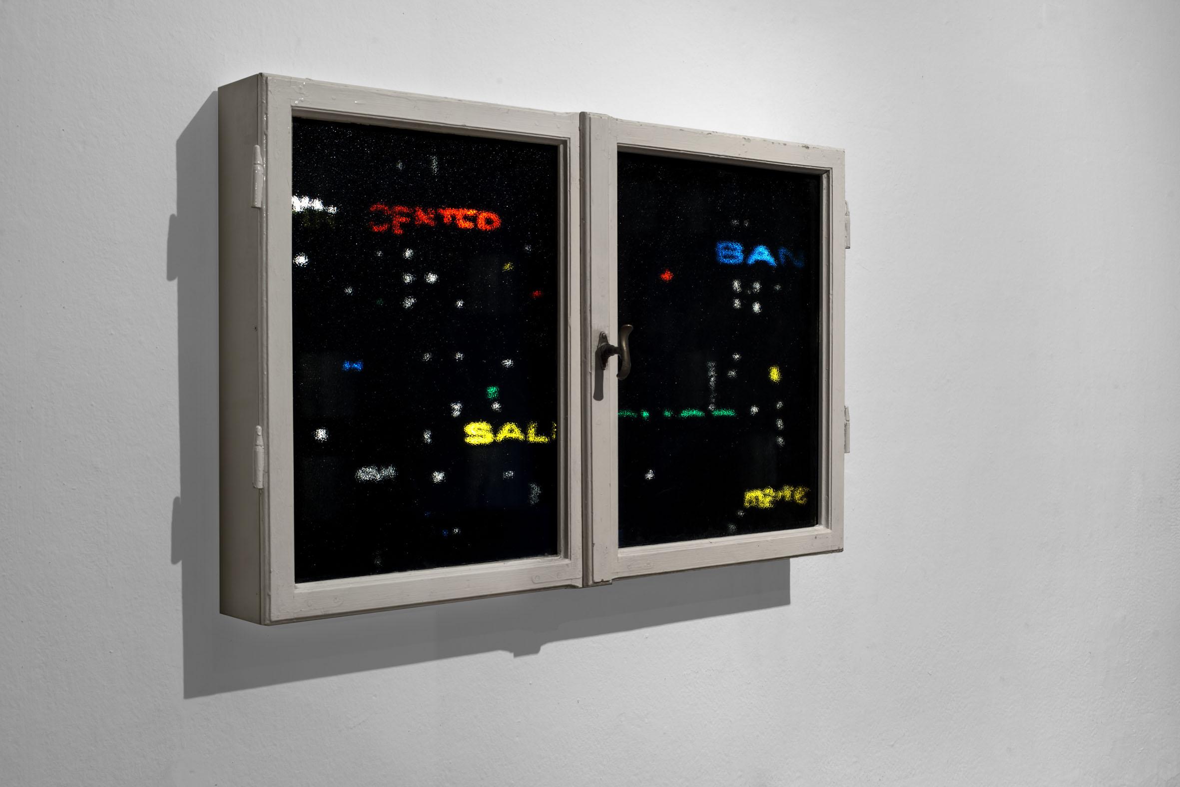 Alessandro Lupi, Window, installazione interattiva, 2015, tecnica mista cm 115x73x25. Courtesy Guidi & Schoen, Genova