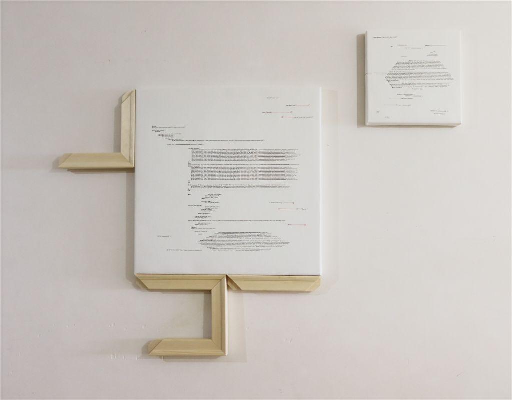 Donatella Lombardo, Discontinuit+á narrative blog_2, 2016, tecnica mista su lino, 135x100x4,5 cm
