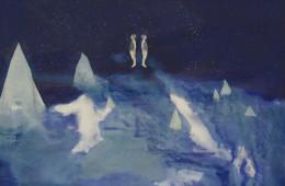 Elisa Bertaglia, Out of the Blue, 2016, olio e pastelli su carta, 102x76 cm, particolare