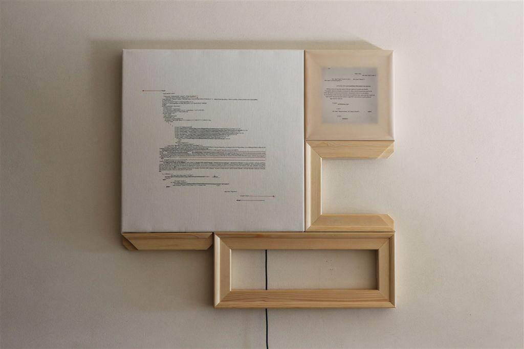 Donatella Lombardo, Inter_azioni mediatiche, cm 91x86x4,5, tecnica mista, 2016