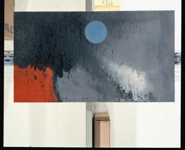 Sergio Dangelo, La pluie et le beau temps, 1952, smalto su tela, 44x80 cm, Intesa Sanpaolo, Milano