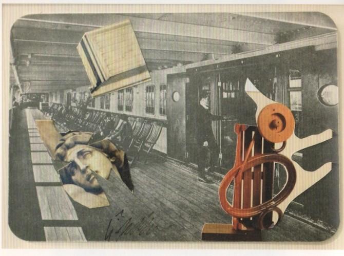Sergio Dangelo, Les Rendez-Vous, collage, 1980, 10x15 cm