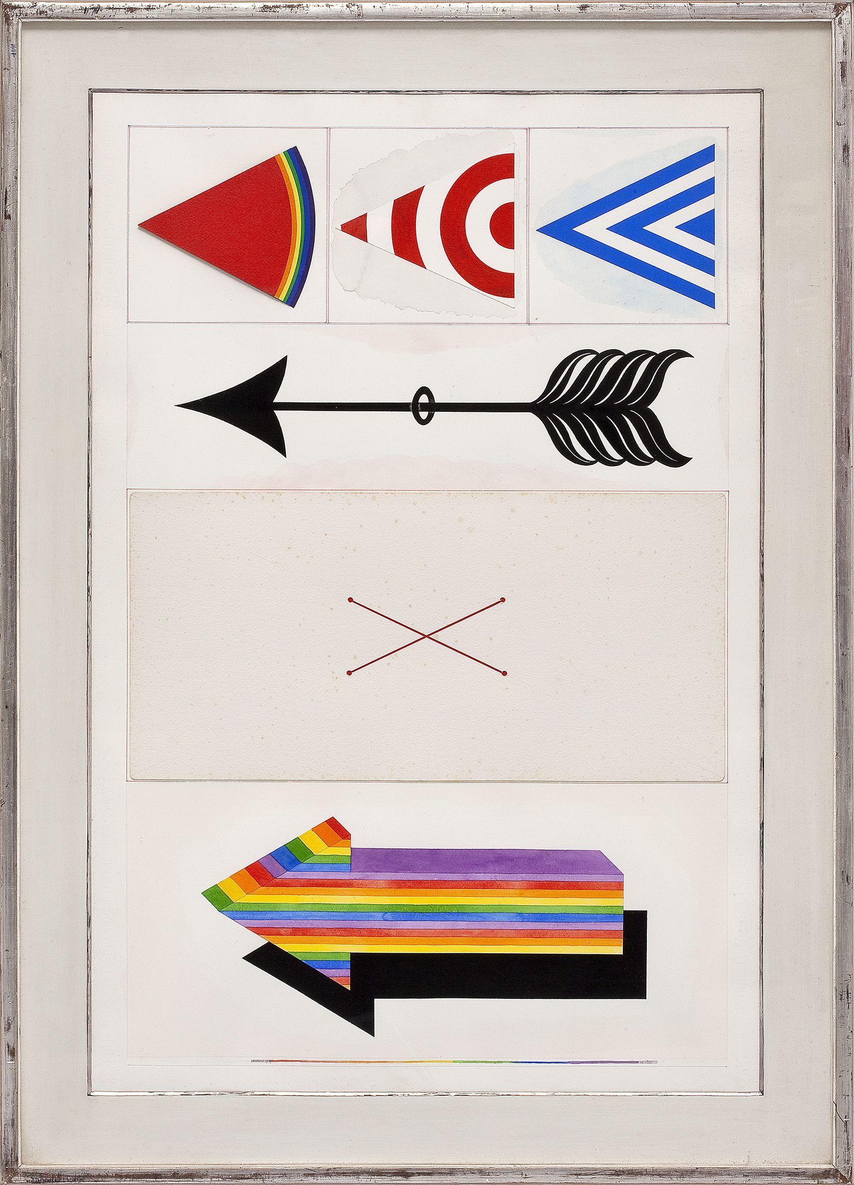 Lucio Del Pezzo, Senza titolo, 1964, tecnica mista su carta, 104x69 cm