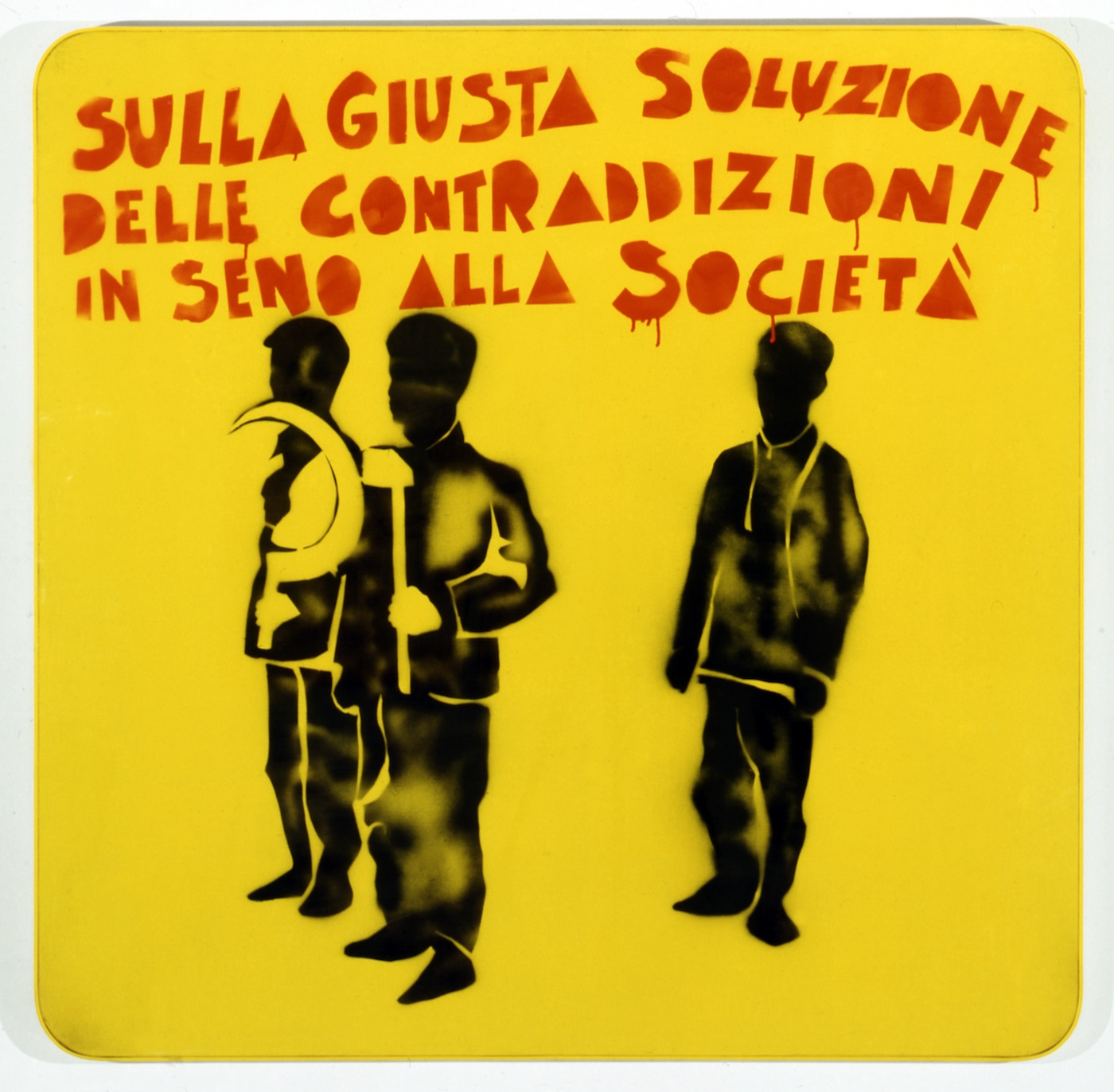 Mario Schifano, Compagni compagni, 1968, smalto e spray su tela e perspex