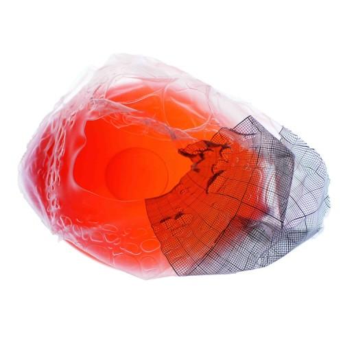 Matteo Emery, Cell 1, 2013, light box, scultura effimera, ghiaccio, latex, 100x100 cm
