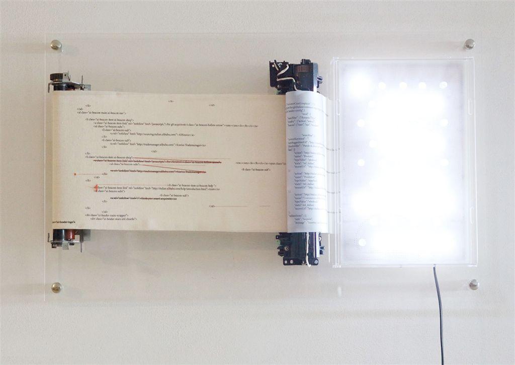 Spiritual Land, 2016, rulli di pressione, ricamo, stampa digitale su stoffa e su carta, quadro a led, plexiglas, 40x70x10 cm