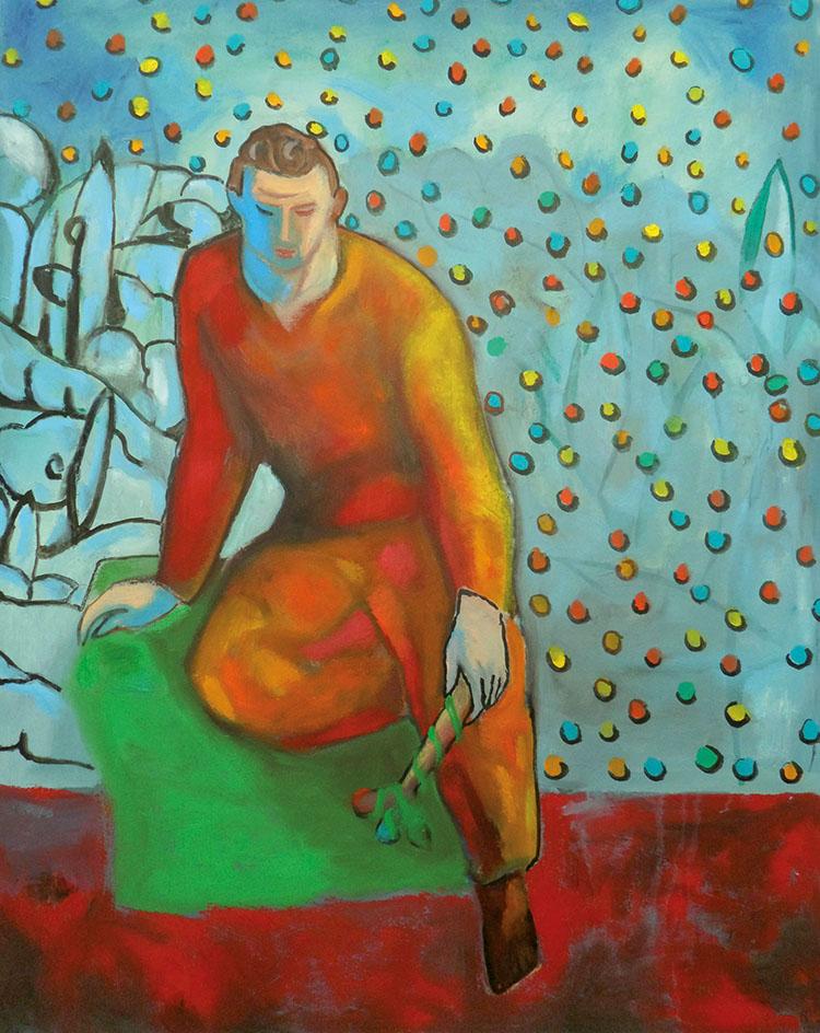 Sandro Chia, Figura con gingillo, 2013-2014, olio su tela, cm 160x140