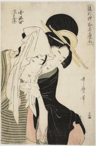 "Kitagawa Utamaro, Koharu and Jihei, dalla serie ""Modelli alla moda nello stile di Utamaro"", 1798-1799, silografia policroma, 35.5x23.8 cm, Honolulu Museum of Art, Honolulu (USA)"