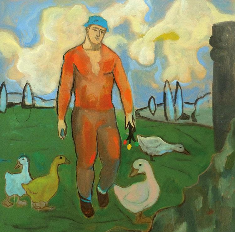 Sandro Chia, Viandante con papere, 2014, olio su tela, cm 100x80