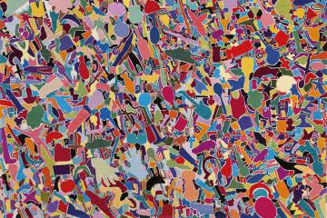 Alighiero Boetti, Tutto, 1988-89, ricamo su tessuto, cm 97x134,5. Courtesy: Tornabuoni Art, Londra