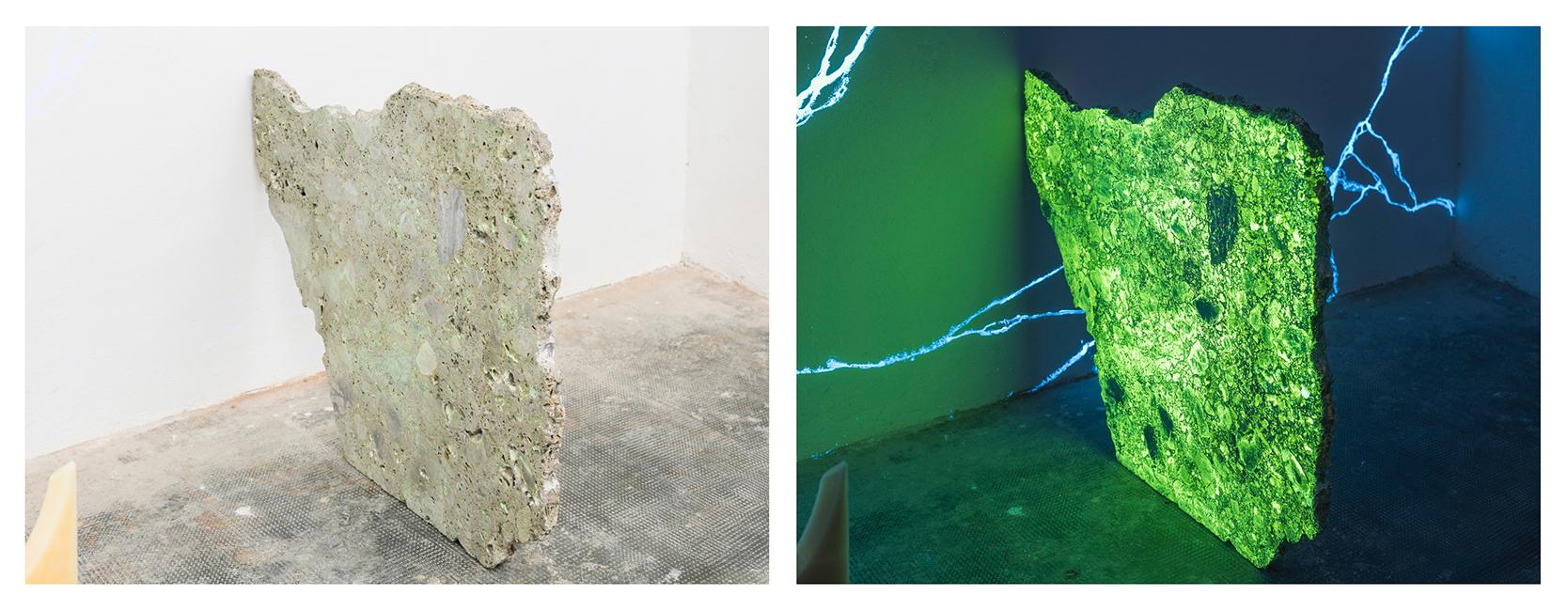 Yari Miele, Blue Night Marble, MARS Milano, dettaglio, ceppo di grès, luce bianca e luce di Wood