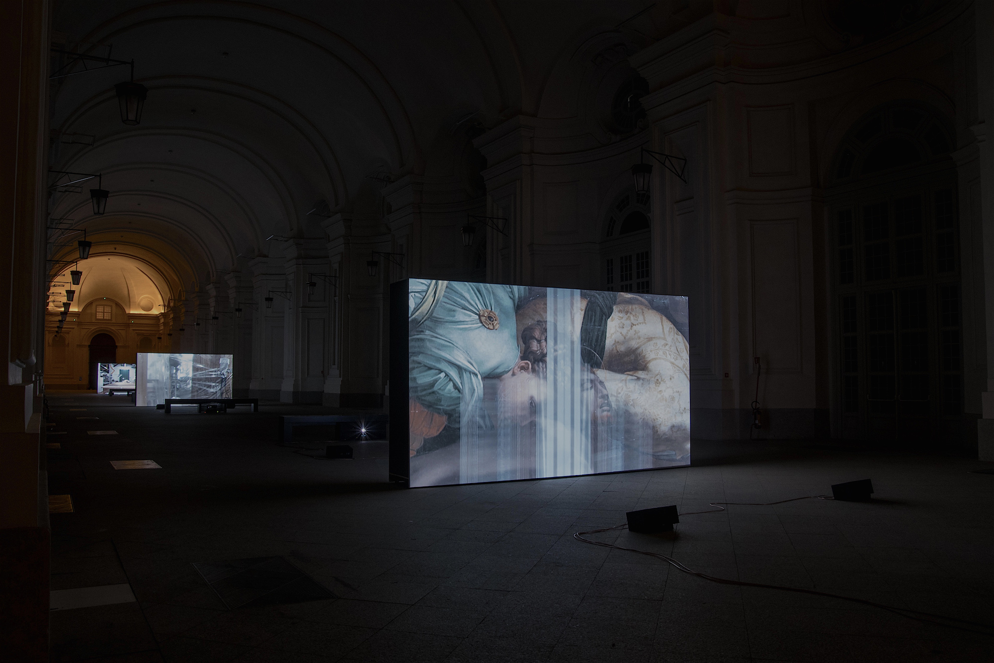 MASBEDO, Handle With Care, 2016, video installazione multicanale, 9'00'', sonoro. Citroniera, Reggia Di Venaria. Photo Alex Astigiano