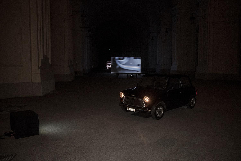 MASBEDO, BB-547-CJ, 2016, video installazione, Mini Cooper, 2016. Citroniera, Reggia Di Venaria. Foto: Alex Astegiano