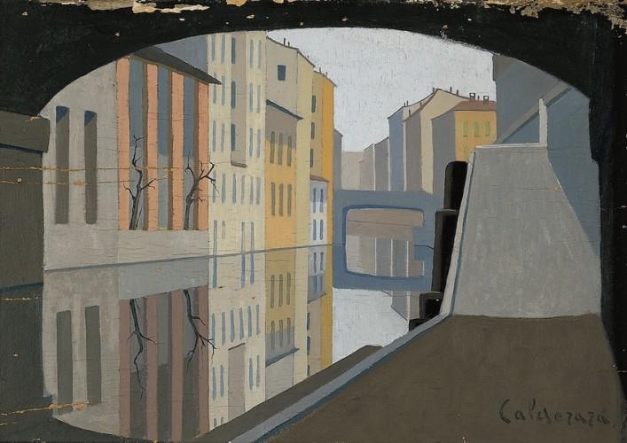 Antonio Calderara, Milano. Il Naviglio, 1928, olio su tavola, 35x50 cm, Fondazione Calderara, Vacciago di Ameno © Fondazione Calderara, Vacciago di Ameno