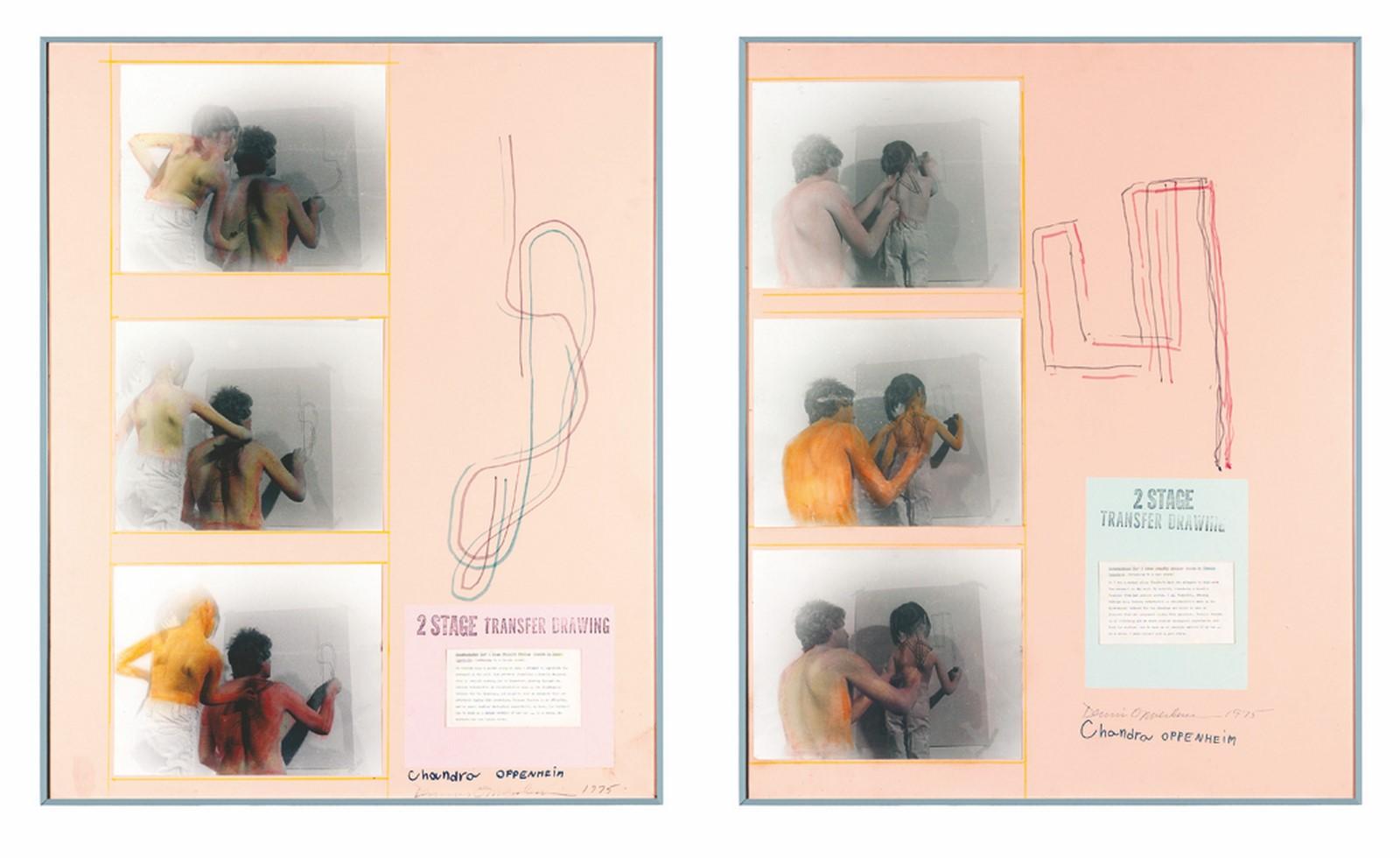 Dennis Oppenheim, Two stage transfer drawing, 1975, fotografia, disegno, foglio dattiloscritto su cartoncino, ed. unica, 102,5 x 82,5 cm, collezione privata, Bassano del Grappa