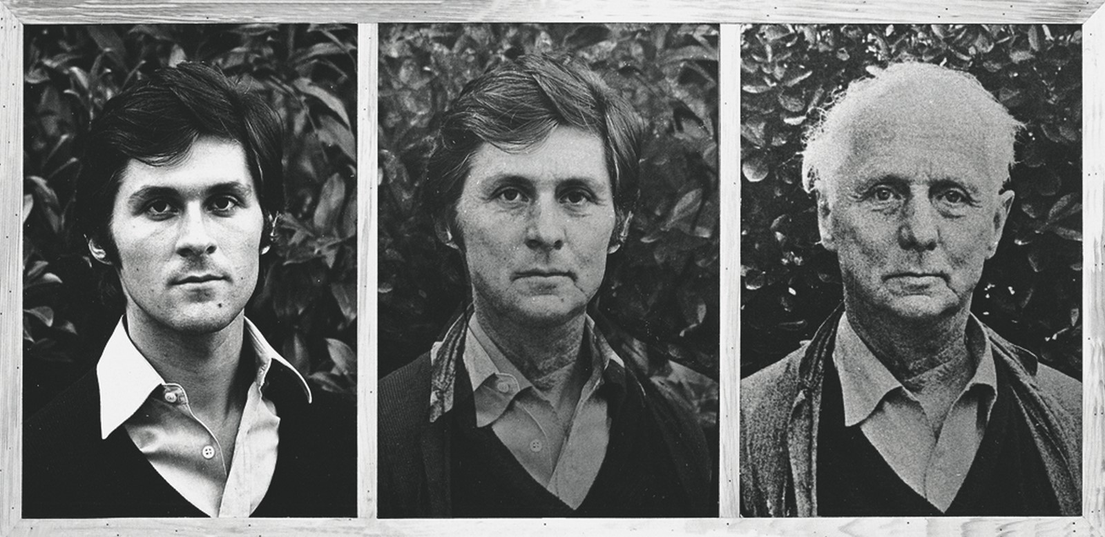 Marcello Jori, Contaminazione: Jori-Ernst, 1974, fotografia in bianco e nero su tavola, 76 x 160,5 cm, courtesy Giovanni Bordino, Torino