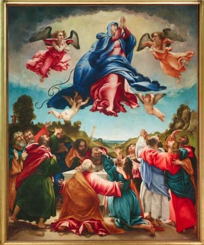 Lorenzo Lotto, Assunzione di Maria, 1527, olio su tela, 238x193 cm, Chiesa di Santa Maria Assunta, Celana