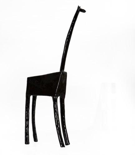 Fausto Melotti, Giraffa, 1955, ceramica smalata nera, 47x18x7 cm