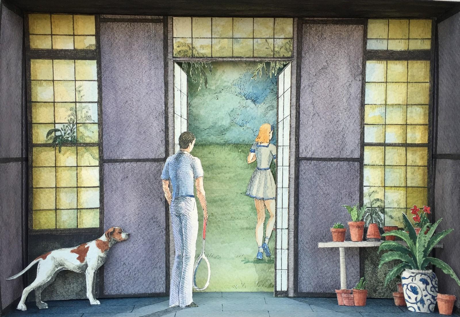 Monolocale 56, (Il giardino dei Finzi Contini), 2016, china e acquerelli su carta, cm. 21x30
