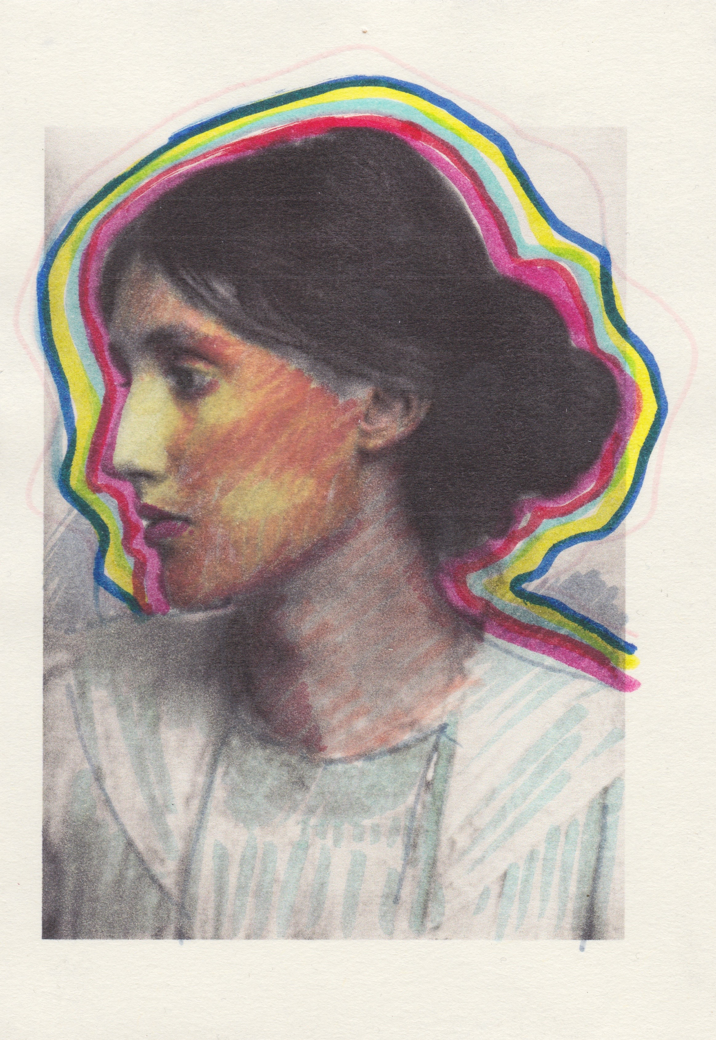 "Sabina Mirri, ""ciao Virginia"", tecnica mista su carta. Courtesy Passaggi Arte Contemporanea"