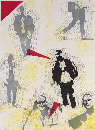 Nicola Villa, Uomo tra la folla, acquaforte e acquatinta su rame con tre lastre stampate a quattro colori, 40x30 cm