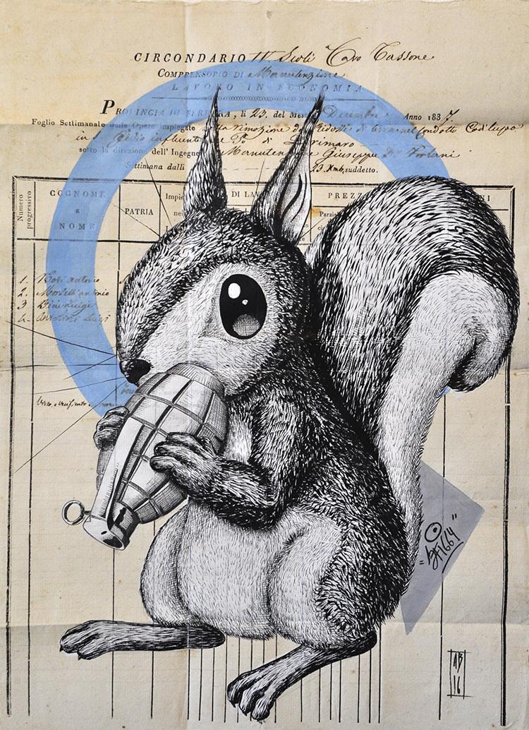 """Alessio """"Sfiggy"""" Bolognesi, Bombing squirrel, 2016, 42x30 cm"""