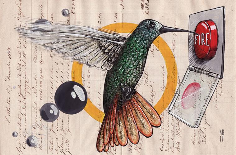 """Alessio """"Sfiggy"""" Bolognesi, Open Fire, 2017, tecnica mista su carta antica, cm 21x30"""