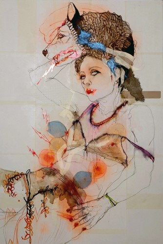 Elena Monzo, FullMoon, 2016, tecnica mista su tela, 150x100 cm