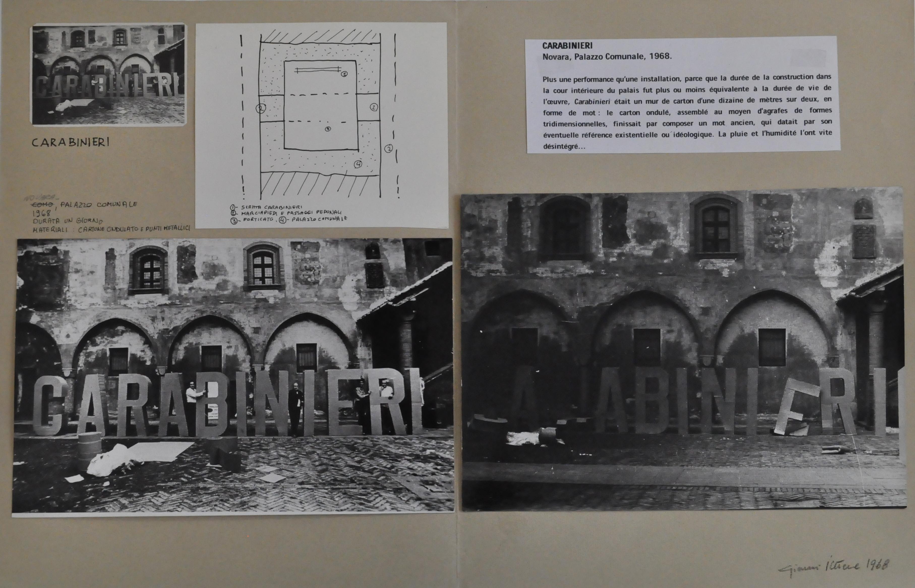 Gianni Pettena, Carabinieri, 1968, composizione di tre foto un disegno e testo esplicativo incollati su cartoncino, 33 x 50 cm, Courtesy l'artista e Galleria Giovanni Bonelli, Milano
