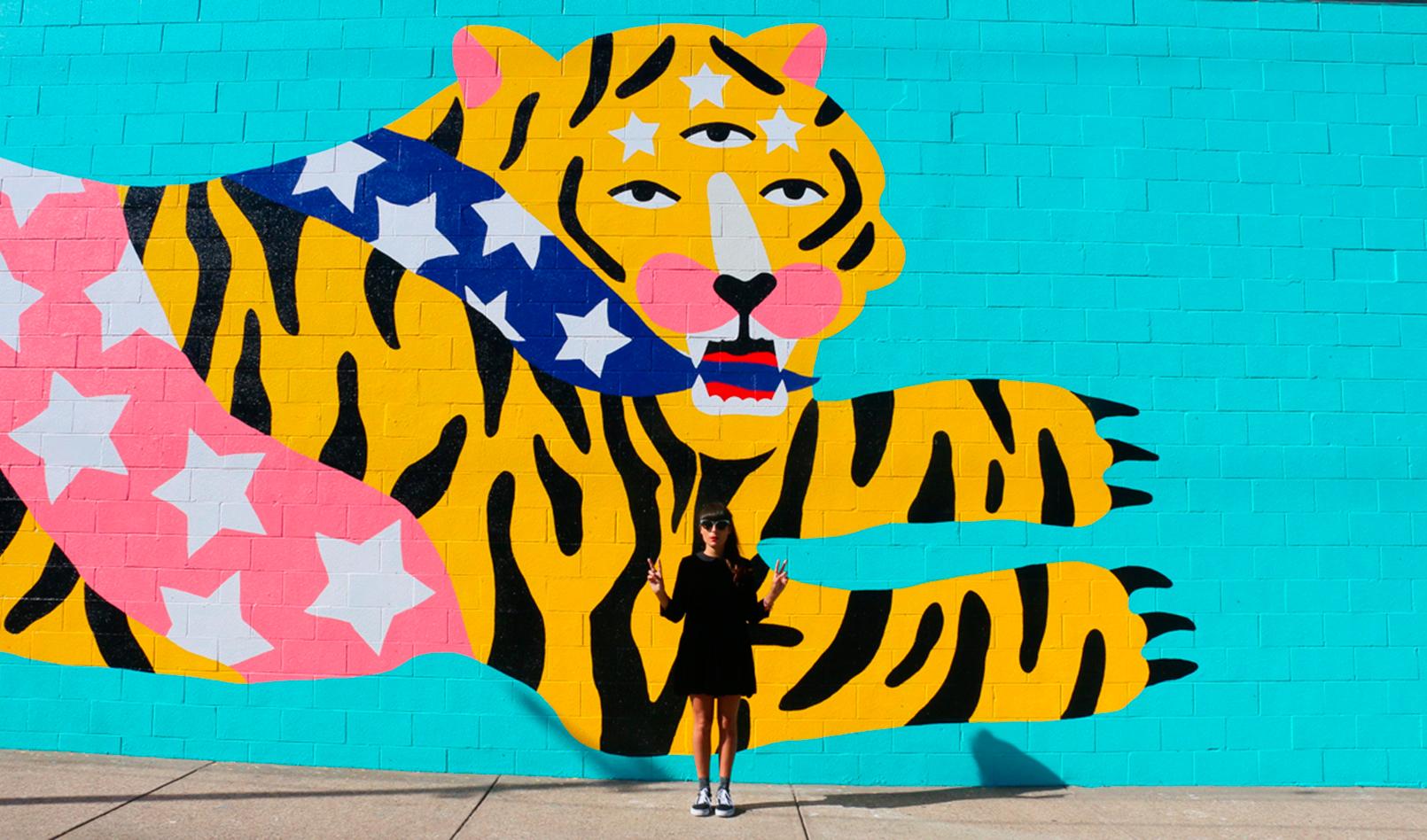 Michela Picchi, We Are All Made of Stars, murale, 50x5 m., 2016, Cleveland. Progetto realizzato per la Creative Fusion Art Residency, Cleveland Foundation. oto: Andrea Sartori. Courtesy Banca Sistema