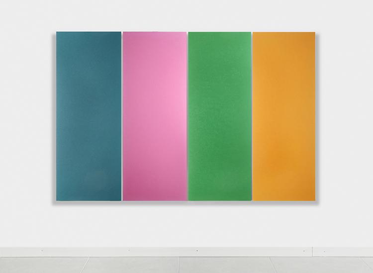 Sonia Costantini, Polittico-colori, 2015, acrilici e olio su tela, opera composta da quattro tele da 152x56 cm ciscuna (misura complessiva 152x227 cm) Courtesy l'artista