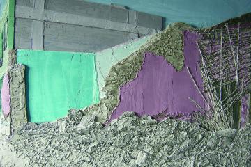 Cristiano De Gaetano, Collapse, cerapongo su strati di mdf 100x45x5 cm. Courtesy The Flat-Massimo Carasi, Milano