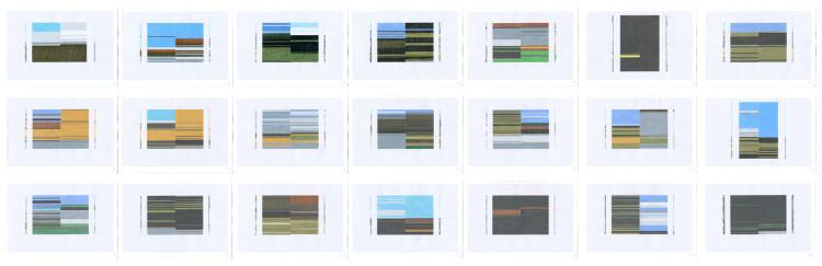 Patrizia Novello, Geografia #1, 2015, pastello su carta, installazione composta da 21 carte Courtesy Nuova Galleria Morone, Milano