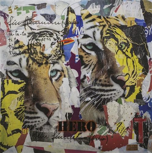 Italiancode, Fiu Fiuuuuu Tiger, 2016, tecnica mista su tela, 100x100 cm