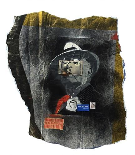 Italiancode e Maurizio Galimberti, Stencil-ready-made-Rotella, 2017, tecnica mista su e polaroid su carta, 52x44 cm
