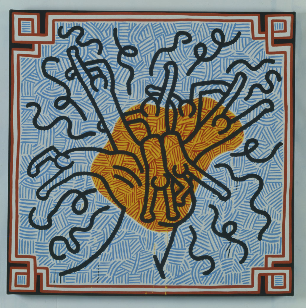 Keith Haring, Hommage to Magritte, 1988, olio su tela, cm 100 x 100, Collezione Tob © Keith Haring Foundation