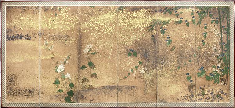 Autore ignoto, Paravento giapponese a sei ante (uno di una coppia) raffigurante alcuni fiori della primavera, dell'estate e dell'autunno con varietà di asagao (ipomea), nogiku (margherita), aoi (malva), nadeshiko (garofano), shakuyaku (peonia), fuji (glicine) e bara (rosa), Periodo Edo, XVII secolo, inchiostro, pigmenti naturali, foglia d'oro e d'argento in strisce e frammenti su carta, 171.5x373 cm Courtesy Paraventi Giapponesi - Galleria Nobili, Milano