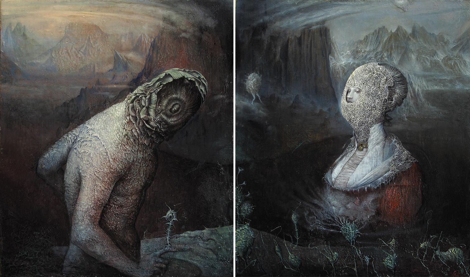 Agostino Arrivabene, Zolfo e Mercurio (Dittico), 2016-2017, olio su legno, cm 60×50