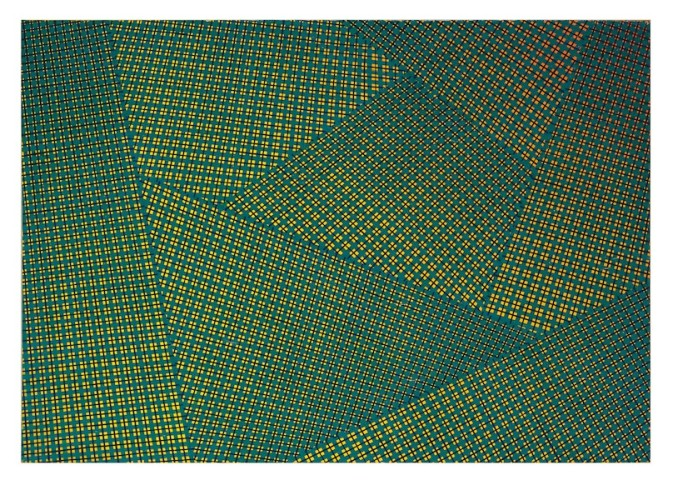 Mario Nigro, Spazio totale: progressioni simultanee contrastanti, 1954, tempera verniciata su tela, 65.5x92 cm Courtesy A arte Invernizzi, Milano