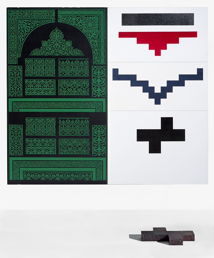 Fausta Squatriti, In segno di natura: Islam verde, 1988, serigrafia su grafite, acquarello, pastelli a cera su cartone Parol, marmo patinato, cm 200x200 + volume, collezione Banca Intesasanpaolo