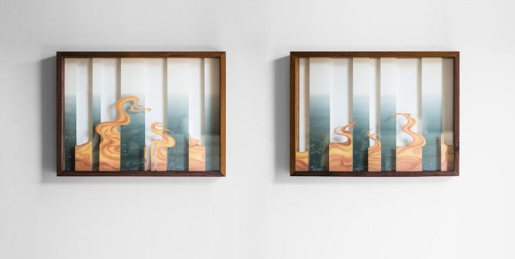 Ma Lingli, Fleeting, 2016, colori su seta (per la mostra Unbounded)