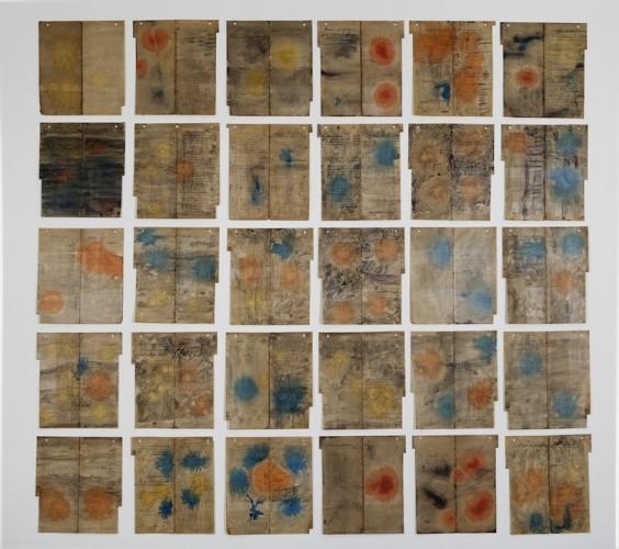 Albano Morandi, Colori, 2009, installazione di 45 pezzi, acquerello e cera su ready-made cartaceo, 30x27 cm ciascuno Courtesy l'artista e Galleria Milano, Milano