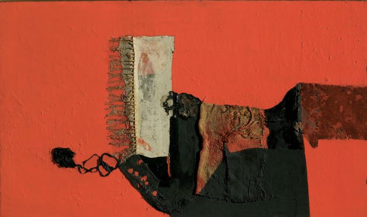 Alberto Burri (1915–1995) Rosso (1955) Oil, canvas and burlap on canvas, 59.5 x 82 cm, Courtesy Mazzoleni