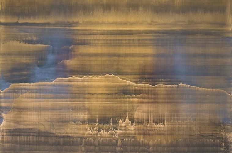 Matteo Montani, Echo, 2017, olio e polveri metalliche su carta abrasiva intelata