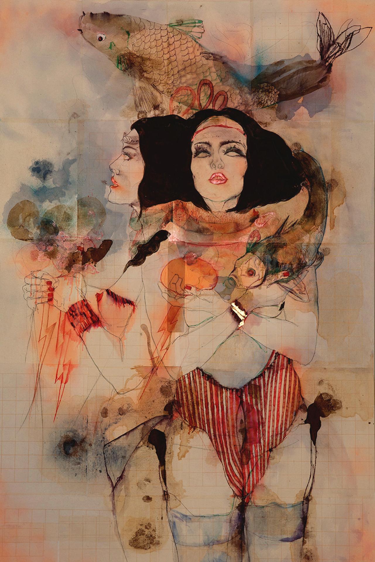 Elena Monzo, Abissi, 2016, tecnica mista su carta applicata su tela, cm 150x100