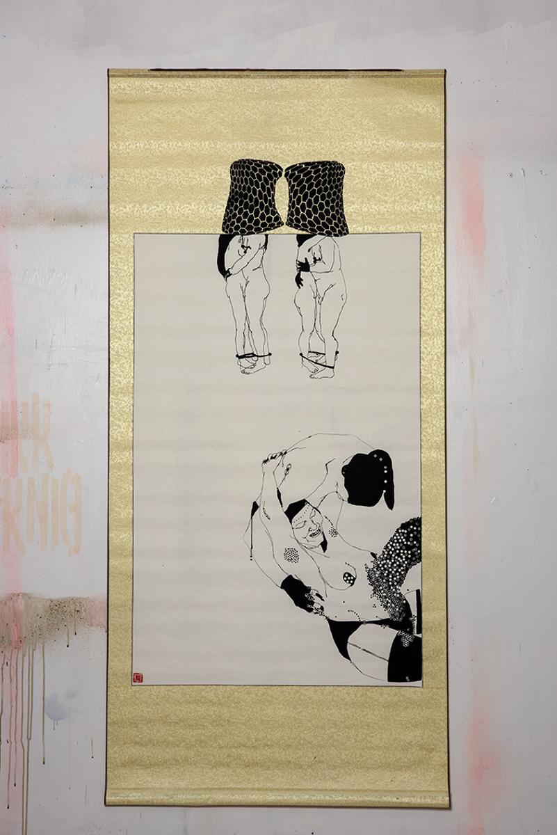 Elena Monzo, Monotype 2015, tecnica mista su carta di riso 160x75-cm