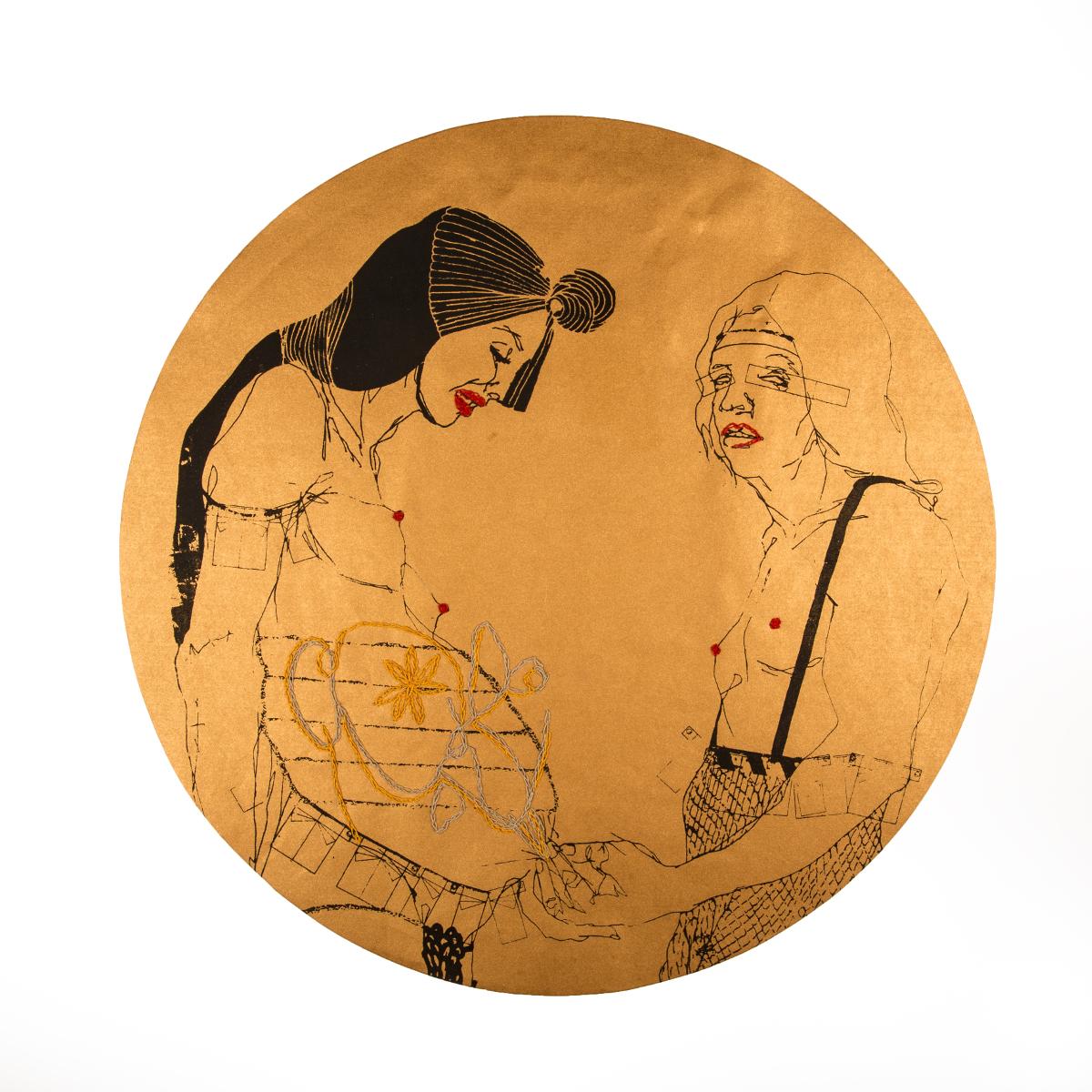 Elena Monzo, Moon, 2016, serigrafia e ricamo su carta di seta diametro 425 cm