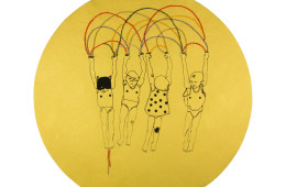 Elena Monzo, Moon, 2016, serigrafia e ricamo su carta di seta, diametro 425 cm