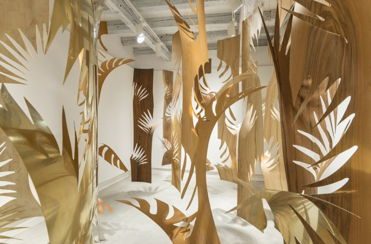 Laura Renna, Grove, 2016, brass copper veeners of wood, site specific installation